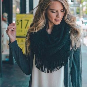 ⭐️2/$38 New Pointelle Knit Infinity scarf in Black
